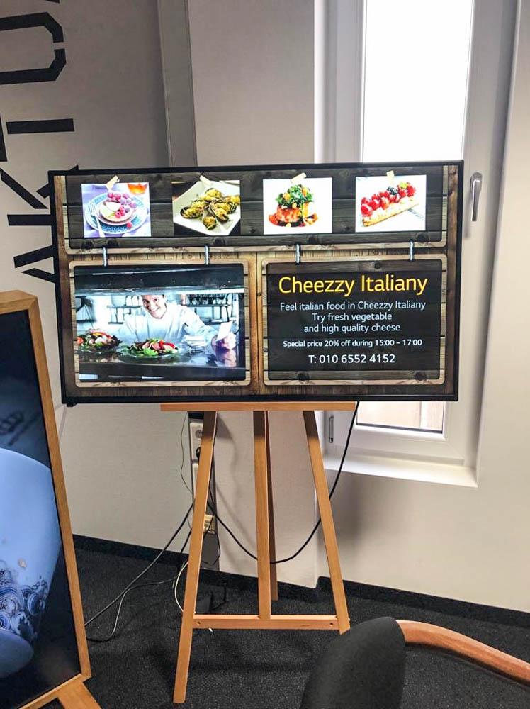 Digital Signage Werbeschild für Restaurant