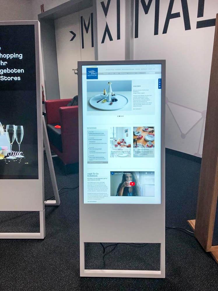 Webseite-Darstellung mit Digital Signage Digitalschild