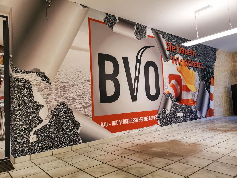 Werbewand für Baustelle von BVO innen